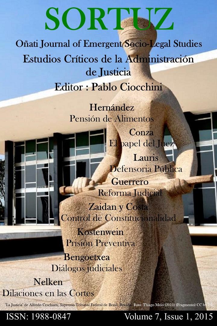Sortuz Vol 7, No 1 (2015): Estudios Críticos de la Administración de Justicia. Guess ed. Pablo Ciocchini